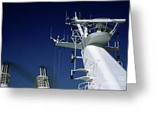Antennas And Chimneys On A Large Ferry Greeting Card