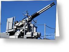 Anti Aircraft Turret Defense Guns On A Navy Ship Greeting Card