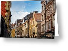 antique building view in Old Town Lille, France Greeting Card