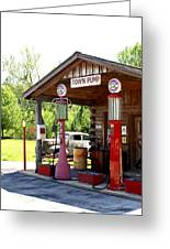 Antique Car And Filling Station 2 Greeting Card