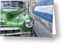 Antique Car And Mural 2 Greeting Card