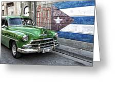 Antique Car And Mural Greeting Card