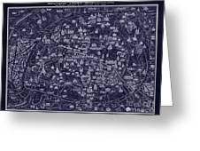 Antique French Pocket Map Of Paris Blueprint Style Greeting Card