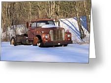 Antique Grungy Truck In Snow Greeting Card