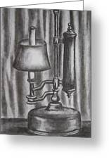 Antique Lamp In Charcoal Greeting Card
