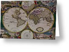 Antique Map Exotic Colorful Greeting Card