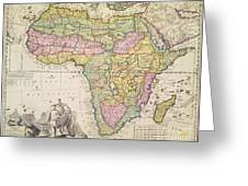 Antique Map Of Africa Greeting Card by Pieter Schenk