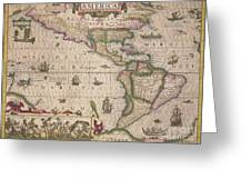 Antique Map Of America Greeting Card