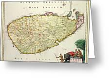 Antique Map Of Ceylon Greeting Card by Nicolas Visscher