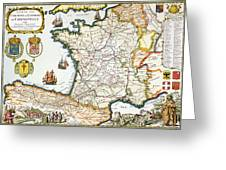 Antique Map Of France Greeting Card by French School