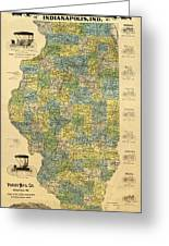 Antique Map Of Indianapolis By The Parry Mfg Company - Historical Map Greeting Card