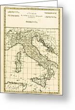 Antique Map Of Italy Greeting Card