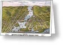 Antique Map Of Mystic Connecticut Greeting Card