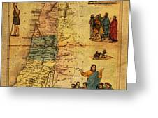 Antique Map Of Palestine 1856 On Worn Parchment Greeting Card