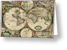 Antique Map Of The World - 1689 Greeting Card