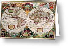 Antique Map Of The World - Double Hemisphere Greeting Card