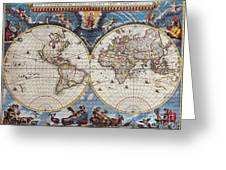 Antique Maps Of The World Joan Blaeu C 1662 Greeting Card