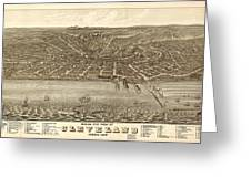Antique Maps - Old Cartographic Maps - Antique Birds Eye View Map Of Cleveland, Ohio, 1877 Greeting Card