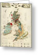 Antique Maps - Old Cartographic Maps - Antique Geological Map Of The British Islands Greeting Card