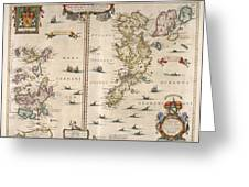 Antique Maps - Old Cartographic Maps - Antique Map Of Schetland And Orkney Islands - Scotland,1654 Greeting Card