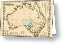 Antique Maps - Old Cartographic Maps - Antique Map Of Australia Greeting Card