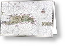 Antique Maps - Old Cartographic Maps - Antique Map Of Hispaniola - Caribbean Island Greeting Card
