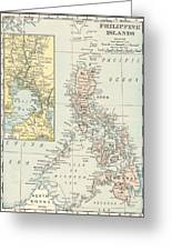 Antique Maps - Old Cartographic Maps - Antique Map Of Philippine Islands And Manila Bay, 1898 Greeting Card