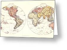 Antique Maps - Old Cartographic Maps - Antique Map Of The Eastern And Western Hemisphere, 1850 Greeting Card