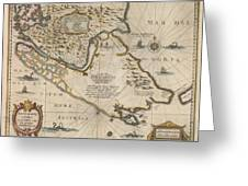 Antique Maps - Old Cartographic Maps - Antique Map Of The Strait Of Magellan, South America, 1635 Greeting Card