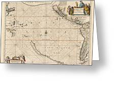 Antique Maps - Old Cartographic Maps - Antique Map Of The Strait Of Magellan, South America, 1650 Greeting Card