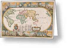 Antique Maps - Old Cartographic Maps - Antique Map Of The World Greeting Card