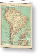 Antique Maps - Old Cartographic Maps - Antique Russian Map Of South America Greeting Card