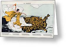 Antique Map Of The United States Of America - The Spirit Of Liberty - The Awakening, 1915 Greeting Card