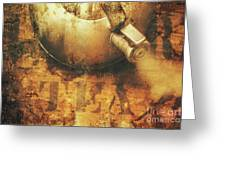 Antique Old Tea Metal Sign. Rusted Drinks Artwork Greeting Card