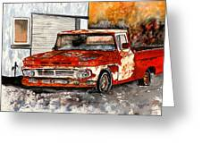 Antique Old Truck Painting Greeting Card