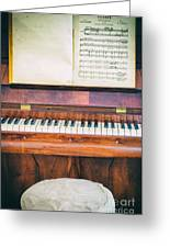 Antique Piano And Music Sheet Greeting Card