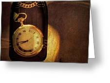 Antique Pocket Watch In A Bottle Greeting Card
