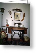 antique Singer sewing machine with treadle Greeting Card