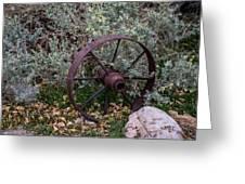 Antique Steel Wagon Wheel Greeting Card
