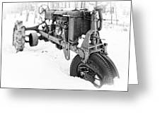 Antique Steel Wheel Tractor Black And White Greeting Card
