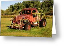 Antique Vehicle As A Planter Greeting Card