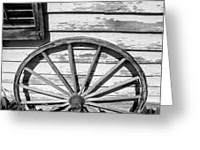 Antique Wagon Wheel In Black And White Greeting Card