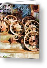 Antique Wagon Wheels And Baskets Greeting Card
