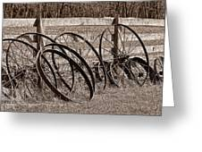Antique Wagon Wheels I Greeting Card by Tom Mc Nemar