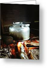 Antique Water Kettle On A Fire In Malaysia Greeting Card