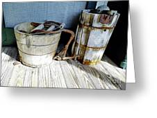 Antique Wooden Buckets Greeting Card