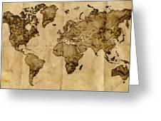 Antique World Map Greeting Card by Radu Aldea
