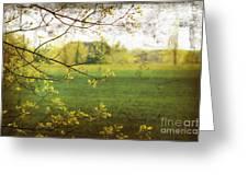 Antiqued Grunge Landscape Greeting Card by Sandra Cunningham