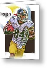 Antonio Brown Pittsburgh Steelers Oil Art 4  Greeting Card