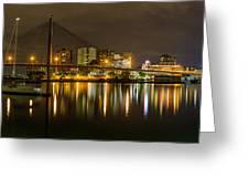 Anzac Bridge By Night Greeting Card